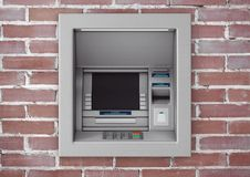 Build In Bank Cash ATM Machine. 3d Rendering. Build In Bank Cash ATM Machine in brick wall. 3d Rendering Royalty Free Stock Images