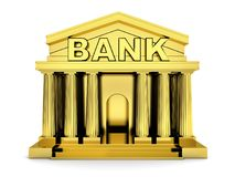 Build bank gold on isolated white background Stock Photo