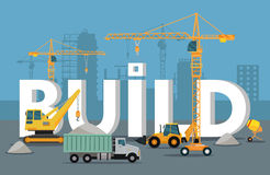 Build Banner Concept in Flat Style Modern Building Royalty Free Stock Image
