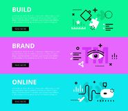 Build Brand Online. Web banners  set Stock Photography
