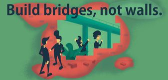 Build bridges, not walls vector illustration
