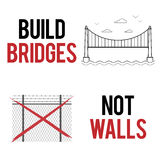 Build bridges not walls text. Creative modern poster template for march, demonstration against anti-immigration policies Royalty Free Stock Photo