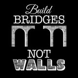 Build bridges not walls text. Design for demonstration against anti-immigration policies. Social issues on refugees Royalty Free Stock Photography