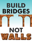 Build bridges not walls text. Poster, flyer template for march, demonstration. Protecting women`s rights, refugees Stock Image