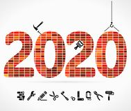 Build 2020. Concept illustration with construction icons Stock Photography