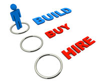 Build buy or hire. Choosing to build on your own, instead of buying or hiring royalty free illustration