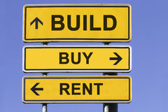 Build, buy, rent. Three yellow signs with arrows in front of a blue sky showing the ways to build, buy or rent. Concept for marketing real estate stock photos