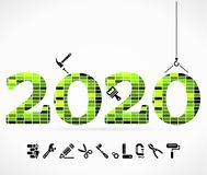 Build 2020. Concept illustration with construction icons Stock Image