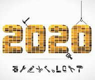 Build 2020. Concept illustration with construction icons Stock Photos