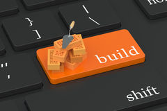Build concept on keyboard button Royalty Free Stock Photography