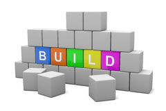 Build Concept. Wall of Bricks and Colorful Cubes with Text 3D Illustration Build Concept Royalty Free Stock Photos