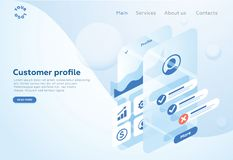 Build a customer profile in a mobile application. Data analysis and office situations. Isometric vector illustration. Landing page concept. Client profile stock illustration
