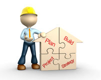 Build. 3d people - man, person with a house pieces of puzzle - jigsaw. Conceptual image Stock Images