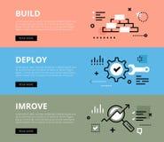 Build. Deploy. Improve. Web banners  set Stock Image