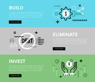 Build. Eliminate. Invest. Web banners  set. Flat line web banners of financial literacy. Line money gearwheel, no debt sign and money symbol for websites and Royalty Free Stock Images