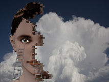 Build. Female head puzzle with ladders Royalty Free Stock Images