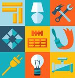 Build flat icons. Repair and build flat icons Stock Photography