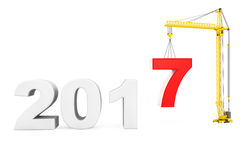 Build the Future Concept. Tower Crane with 2017 Year Sign. 3d Re. Build the Future Concept. Tower Crane with 2017 Year Sign on a white background. 3d Rendering Stock Photos