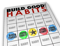 Build Good Habits Bingo Card Develop Strong Skills Growth. Build Good Habits words on a bingo card to illustrate positive routines, processes and procedures for stock illustration