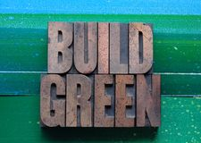 Build green. The words build green on a green and blue background royalty free stock photo