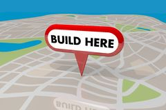 Build Here New Building Construction Property Location Map Pin 3 Stock Image