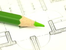 Build a house and architect tools Stock Photos