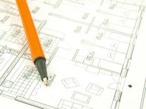 Build a house and architect tools Stock Photography