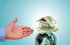 Build a house for the money accumulated Royalty Free Stock Photo