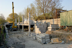 Build a house and sun. Build a house foundation and a sun Royalty Free Stock Photography
