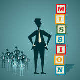 Build mission. Retro block businessmen with his team stock vector Stock Photography
