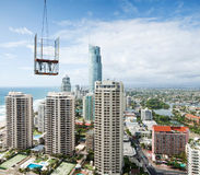 Build a modern city viewed from high rise Royalty Free Stock Image