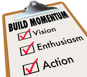 Build Momentum Checklist Clipboard Moving Forward Stock Photo