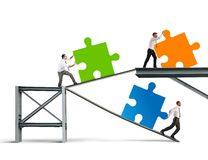 Build a new company. Concept of Build a new company with puzzle royalty free illustration
