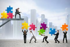 Build a new company. Team of businesspeople build a new company stock images