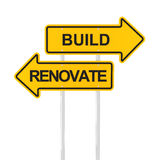 Build or renovate. Concept, 3d render, white background Royalty Free Stock Photos