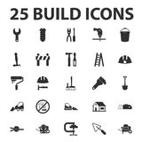 Build, repair 25 black simple icons set Royalty Free Stock Photography