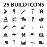 Build, repair 25 black simple icons set Stock Photos