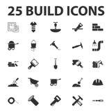 Build, repair 25 black simple icons set Stock Photography