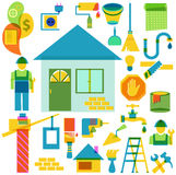 Build and repair color icon collection. Over white Stock Images