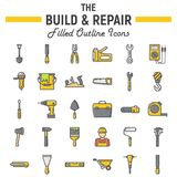 Build and Repair filled outline icon set Stock Images