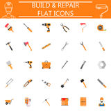 Build and Repair flat icon set, construction symbols collection, Tools colorful solid isolated on white background. Build and Repair flat icon set Royalty Free Illustration