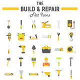 Build and Repair flat icon set, construction signs Royalty Free Stock Photography