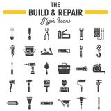 Build and Repair glyph icon set, construction sign. Build and Repair glyph icon set, construction symbols collection, vector sketches, logo illustrations, tools Royalty Free Stock Photo