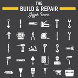 Build and Repair glyph icon set, construction sign Royalty Free Stock Photo