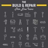 Build and Repair line icon set, construction signs. Build and Repair line icon set, construction symbols collection, vector sketches, logo illustrations, tools stock illustration