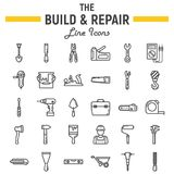 Build and Repair line icon set, construction signs. Build and Repair line icon set, construction symbols collection, vector sketches, logo illustrations, tools Royalty Free Stock Photo