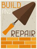 Build and repair. Retro poster in flat design Royalty Free Stock Image