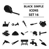 Build and repair set icons in black style. Big collection of build and repair vector symbol stock illustration Royalty Free Stock Photo