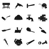 Build and repair set icons in black style. Big collection of build and repair vector symbol stock illustration Royalty Free Stock Image
