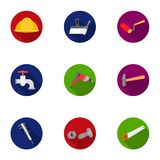 Build and repair set icons in flat style. Big collection of build and repair vector symbol. Build and repair set icons in flat design. Big collection of build Stock Photo